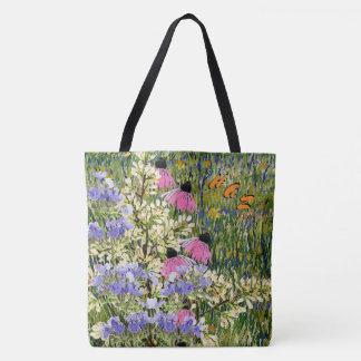 Wildflowers in a Meadow at Arles - Monogrammed Tote Bag