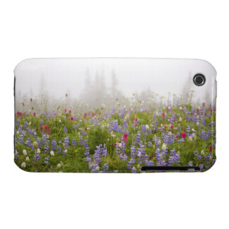 Wildflowers In A Meadow With Fog In Mt. Rainier Na Case-Mate iPhone 3 Case