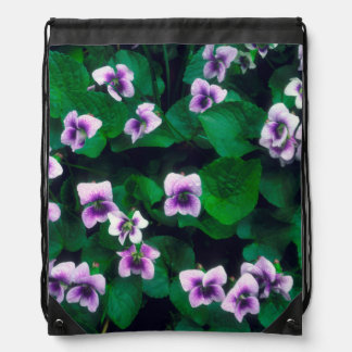 Wildflowers in the forest drawstring bag