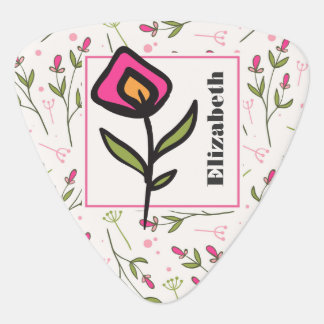 Wildflowers - Pink and Orange Petals Personalized Plectrum