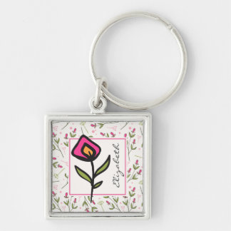Wildflowers - Pink and Orange Petals Personalized Silver-Colored Square Key Ring