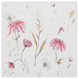 Wildflowers Pink & Mustard Fabric