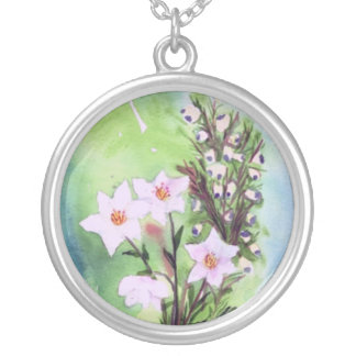 wildflowers round pendant necklace