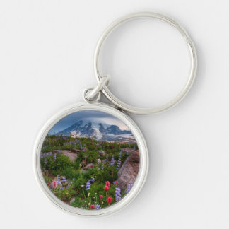 Wildflowers Silver-Colored Round Key Ring