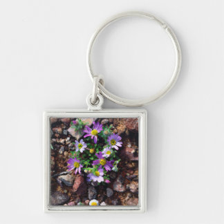 Wildflowers Silver-Colored Square Key Ring