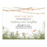 Wildflowers & String lights save the date postcard