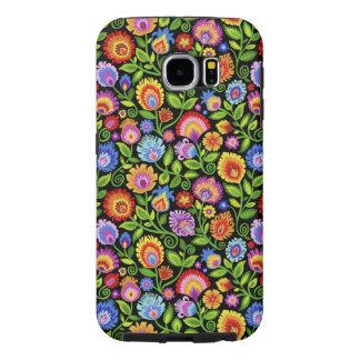 Wildflowers Wycinanki Folky Floral-Black Samsung Galaxy S6 Cases