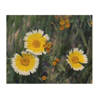 Wildflowers Yellow and White Sunflowers Wood Wall Art