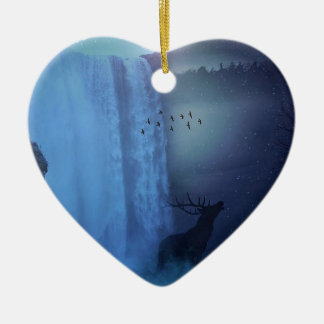Wildlife and Waterfalls Ceramic Heart Decoration
