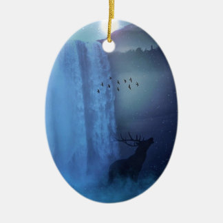 Wildlife and Waterfalls Ceramic Oval Decoration