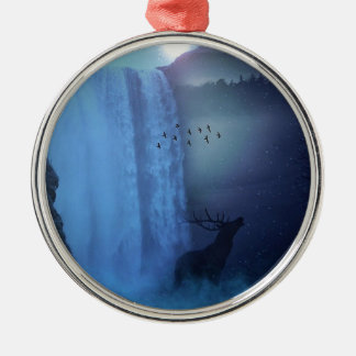 Wildlife and Waterfalls Silver-Colored Round Decoration