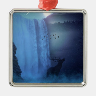 Wildlife and Waterfalls Silver-Colored Square Decoration