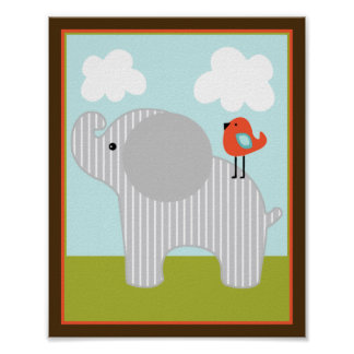 Wildlife Animals Elephant with bird Art Poster