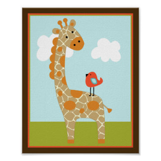 Wildlife Animals Giraffe with bird Art Poster