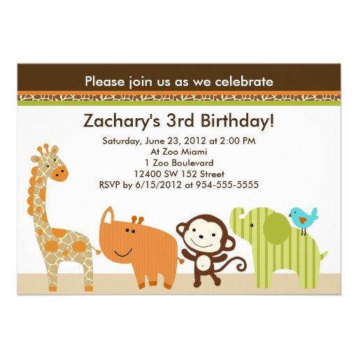 Wildlife Animals Jungle Birthday Invitation