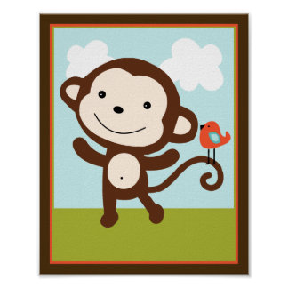 Wildlife Animals Monkey with bird Art Poster