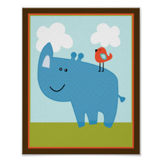 Wildlife Animals Rhinoceros Rhino Art Poster