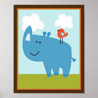 Wildlife Animals Rhinoceros Rhino Art Poster