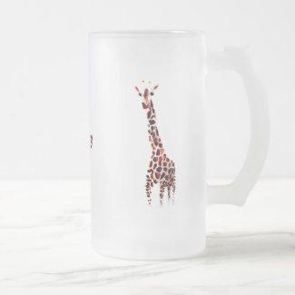 Wildlife Art Giraffes Custom Name Frosted Glass Beer Mug