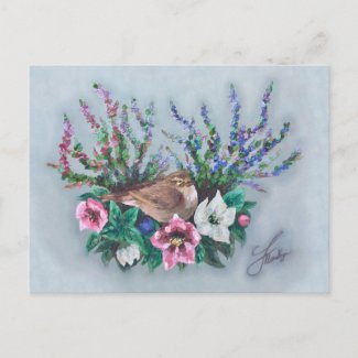 Wildlife art oil painting floral bird postcard