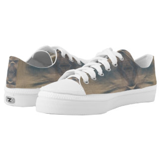 Wildlife Brown White Jungle Zipz Low Top Shoes Printed Shoes
