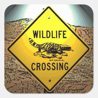 Wildlife crossing caution artistic road sign square sticker