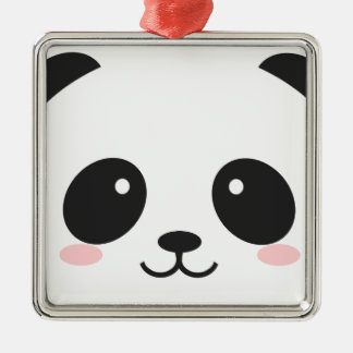 WILDLIFE PANDER FACE Silver-Colored SQUARE DECORATION
