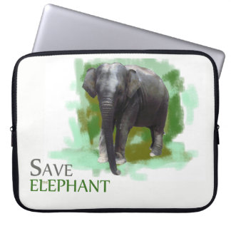 Wildlife Protection Cute Painted Baby Elephant Laptop Sleeve
