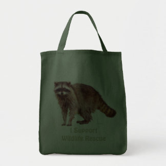 Wildlife Rescue Wild Raccoon Tote Grocery Tote Bag