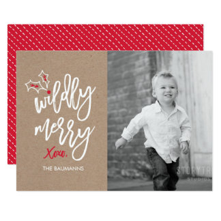 Wildly Merry Kraft Holiday Photo Card