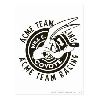 Wile E. Coyote Acme Team Racing B/W Postcard