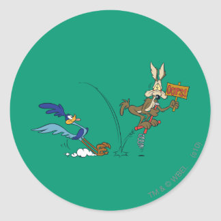 Wile E Coyote and ROAD RUNNER™ Acme Products 7 Classic Round Sticker