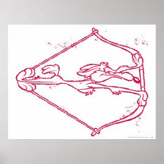 Wile E. Coyote Distressed Archery Print