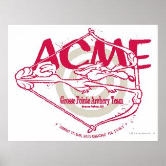 Wile E. Coyote Grosse Pointe Archery Team Poster