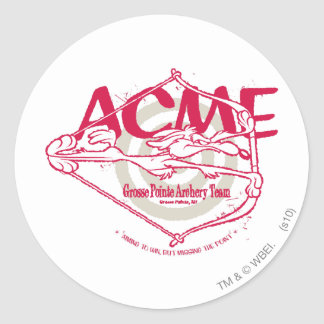 Wile E Coyote Grosse Pointe Archery Team Round Stickers