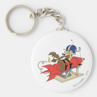 Wile E. Coyote Launching Red Rocket Basic Round Button Key Ring