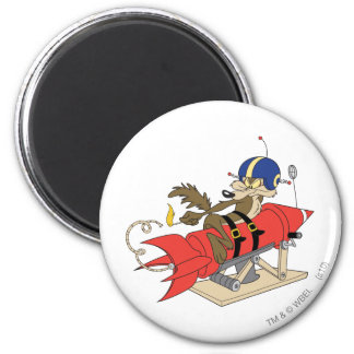 Wile E. Coyote Launching Red Rocket 6 Cm Round Magnet