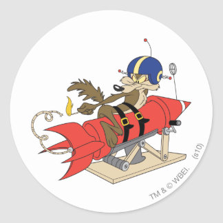 Wile E. Coyote Launching Red Rocket Round Sticker