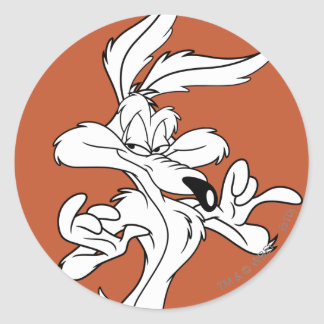 Wile E Coyote Looking Pleased Round Sticker