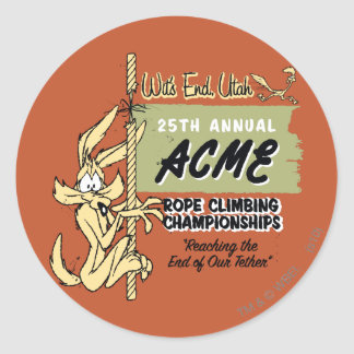 Wile E Coyote Rope Climbing Championships Round Stickers