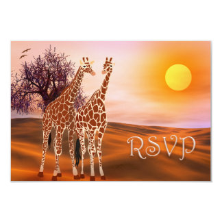 Wilflife Giraffe Zoo Theme RSVP Card