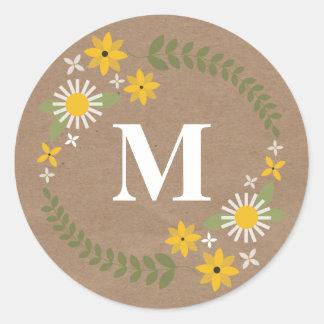 Wilflower Monogram Brown Paper Inspired Sticker