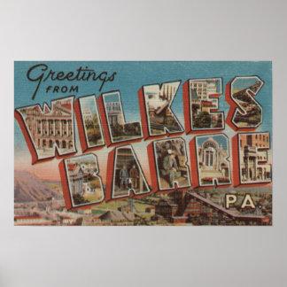 Wilkes-Barre, Pennsylvania - Large Letter Scenes 2 Poster