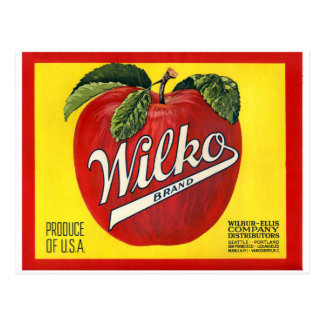 Wilko Brand Apples Vintage Label Postcard