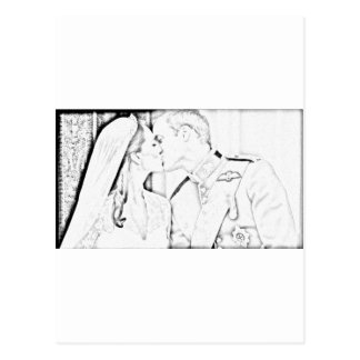 Will and Kate kiss Postcard