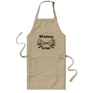 Will Barbecue For Beer Your Custom Long Apron