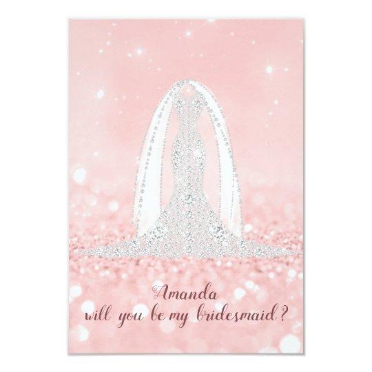 Will Bridesmaid Glitter Diamond Dress Pink Veil Card