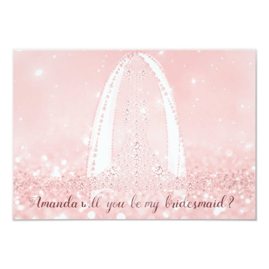 Will Bridesmaid Glitter Diamond Dress Pink Veil Card