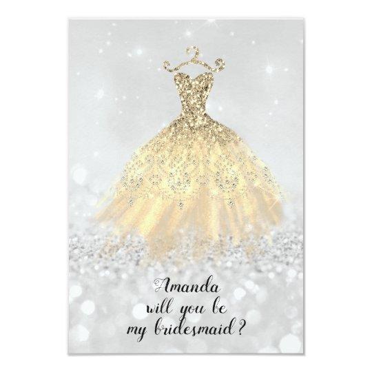 Will Bridesmaid Glitter Diamond Dress Princess Card