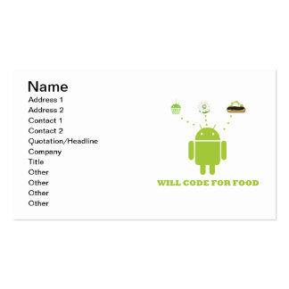 Will Code For Food (Android Software Developer) Pack Of Standard Business Cards